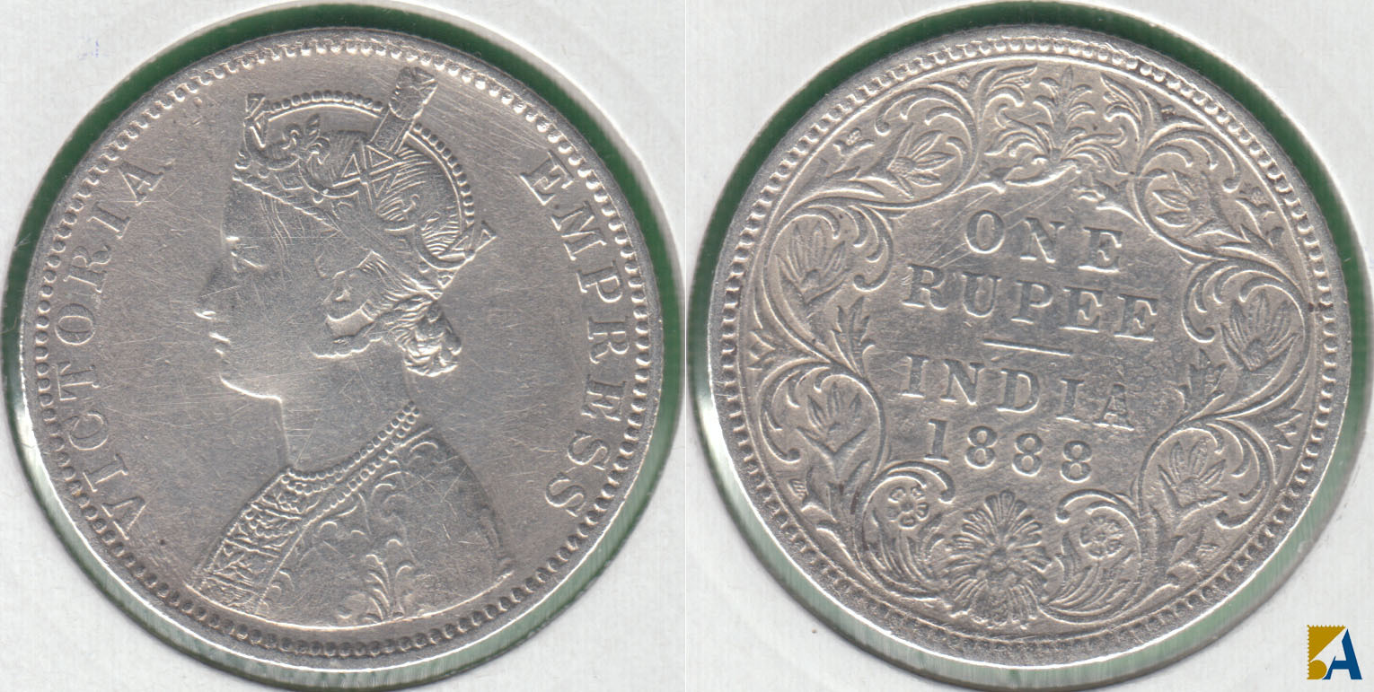 INDIA BRITANICA - BRITISH INDIA. 1 RUPIA (RUPEE) DE 1888. PLATA 0.917.