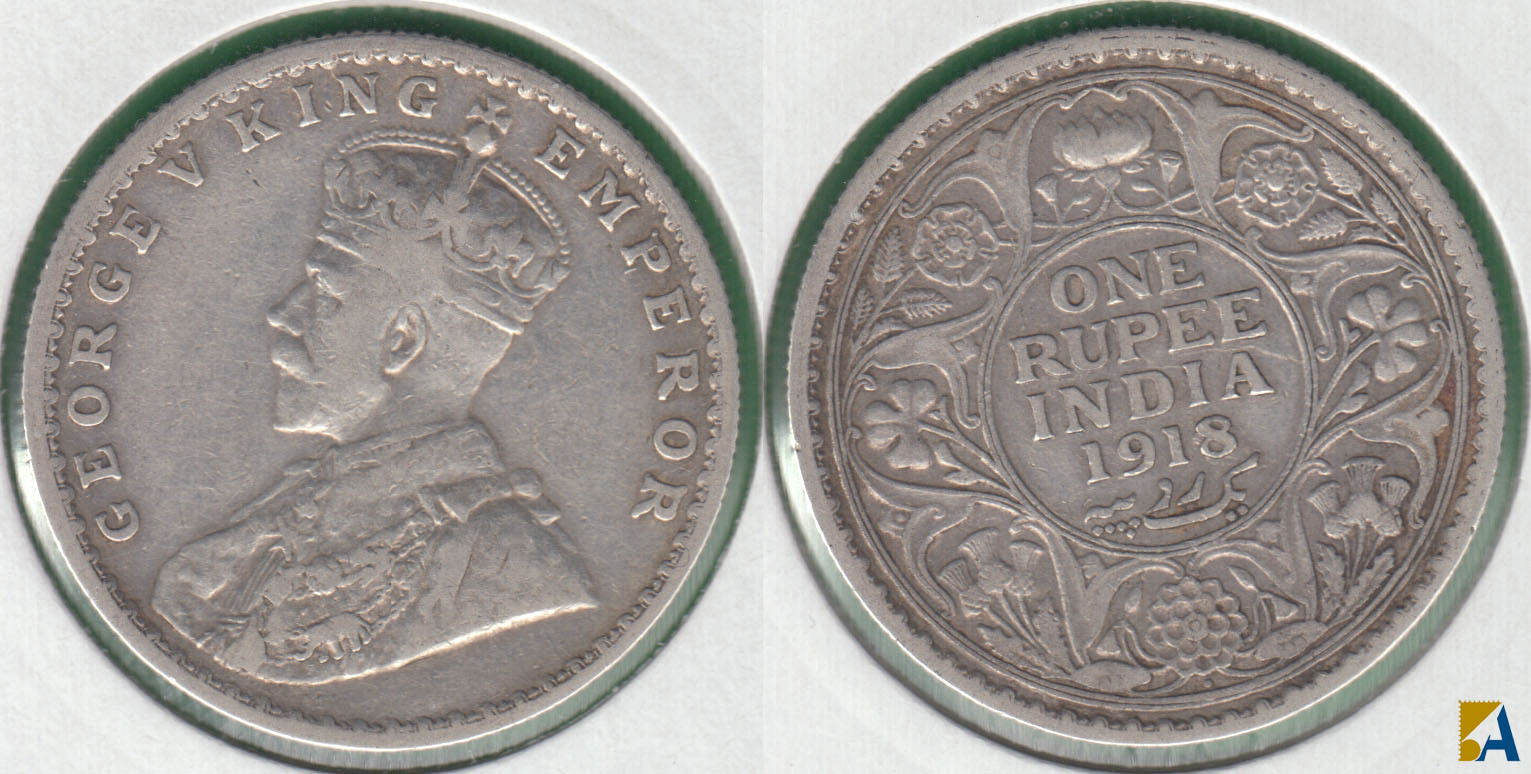 INDIA BRITANICA - BRITISH INDIA. 1 RUPIA (RUPEE) DE 1918. PLATA 0.917.