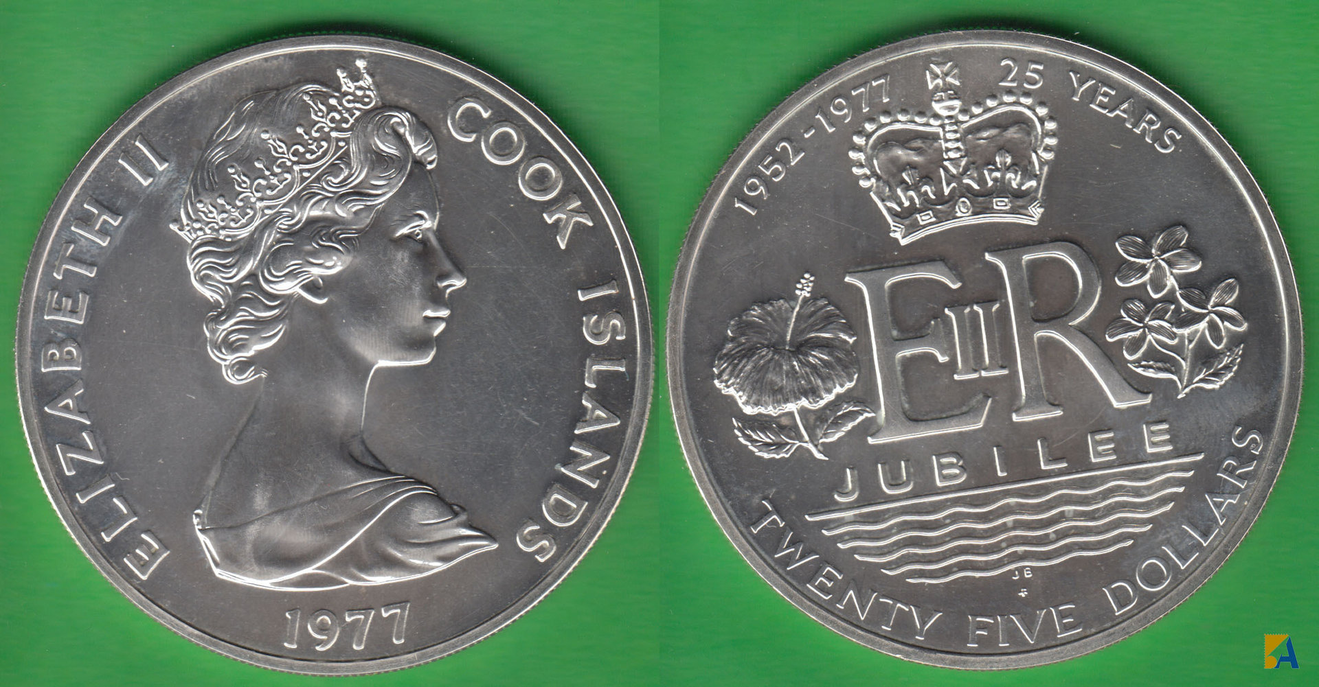 ISLAS COOK - COOK ISLANDS. 25 DOLARES (DOLLARS) DE 1977. PLATA 0.500.