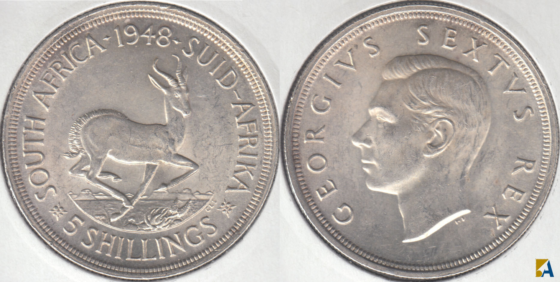SUDAFRICA - SOUTH AFRICA. 5 SHILLINGS DE 1948. PLATA 0.800. (5)