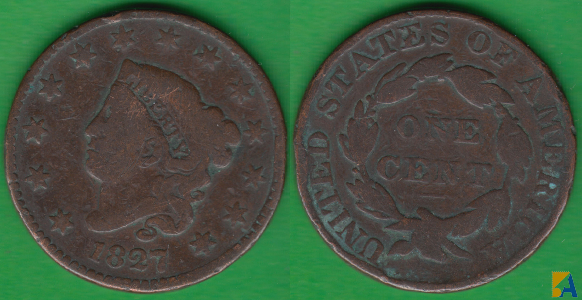 ESTADOS UNIDOS - UNITED STATES. 1 CENTIMO (CENT) DE 1827.