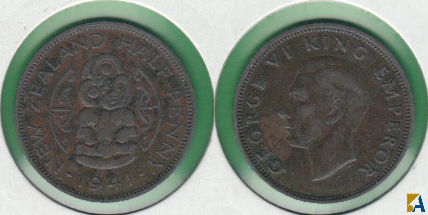 NUEVA ZELANDA - NEW ZEALAND. 1/2 PENIQUE (PENNY) DE 1941.