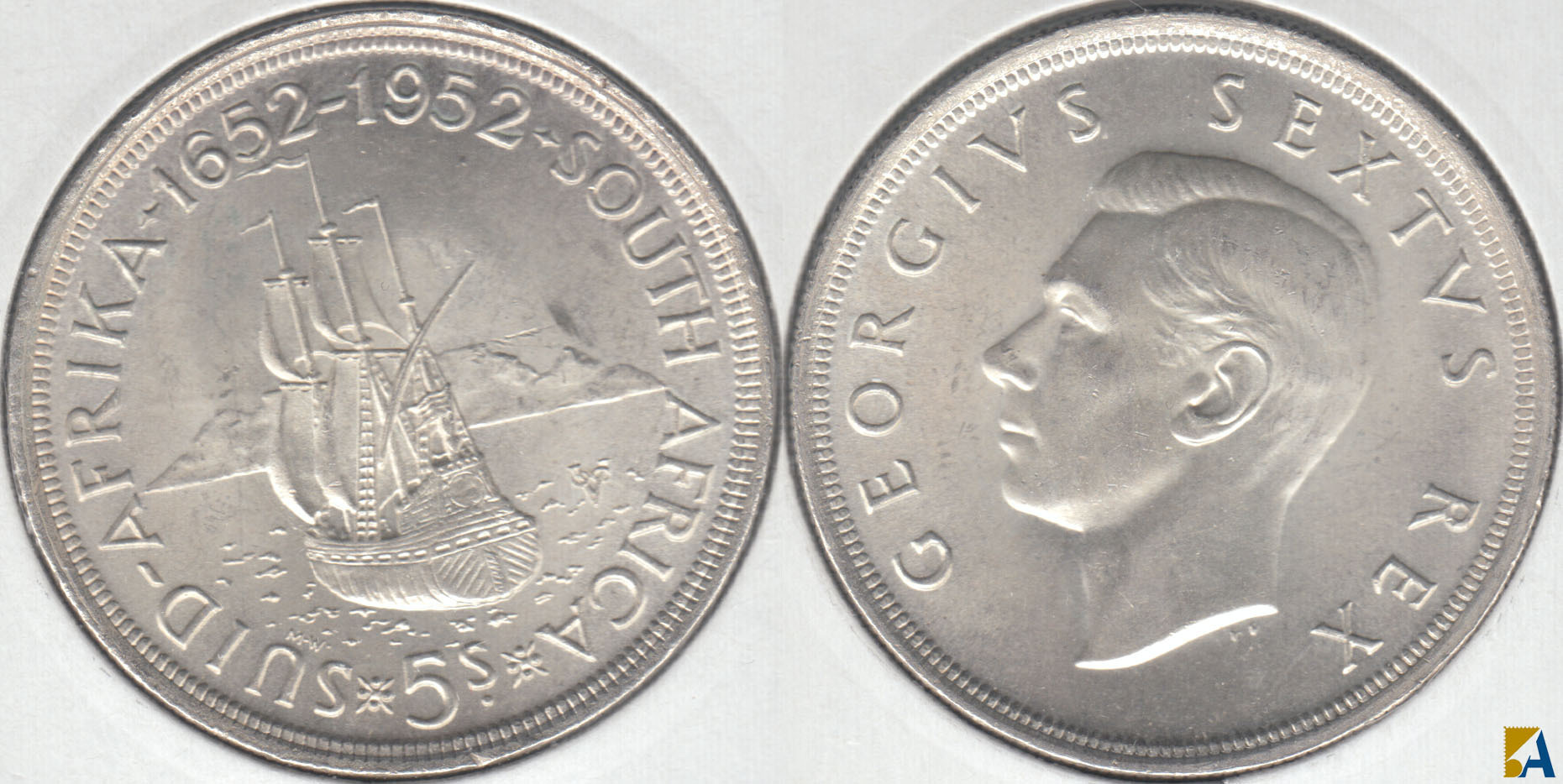 SUDAFRICA - SOUTH AFRICA. 5 SHILLINGS DE 1952. PLATA 0.500.