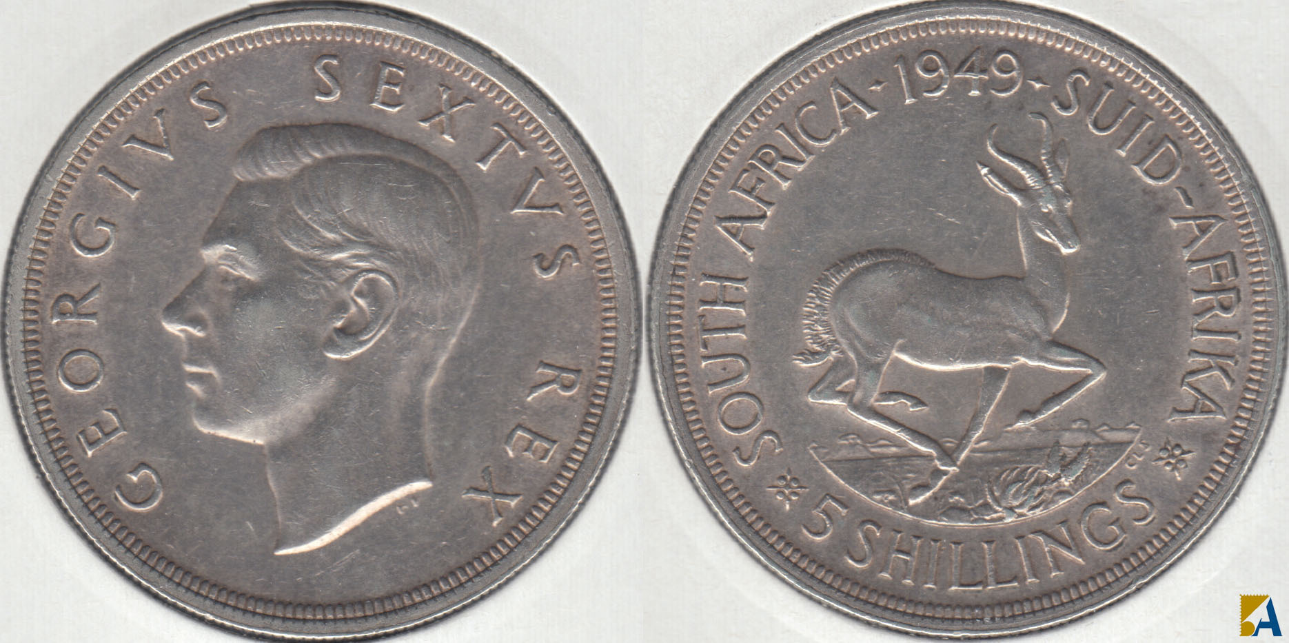 SUDAFRICA - SOUTH AFRICA. 5 SHILLINGS DE 1949. PLATA 0.800. (2)