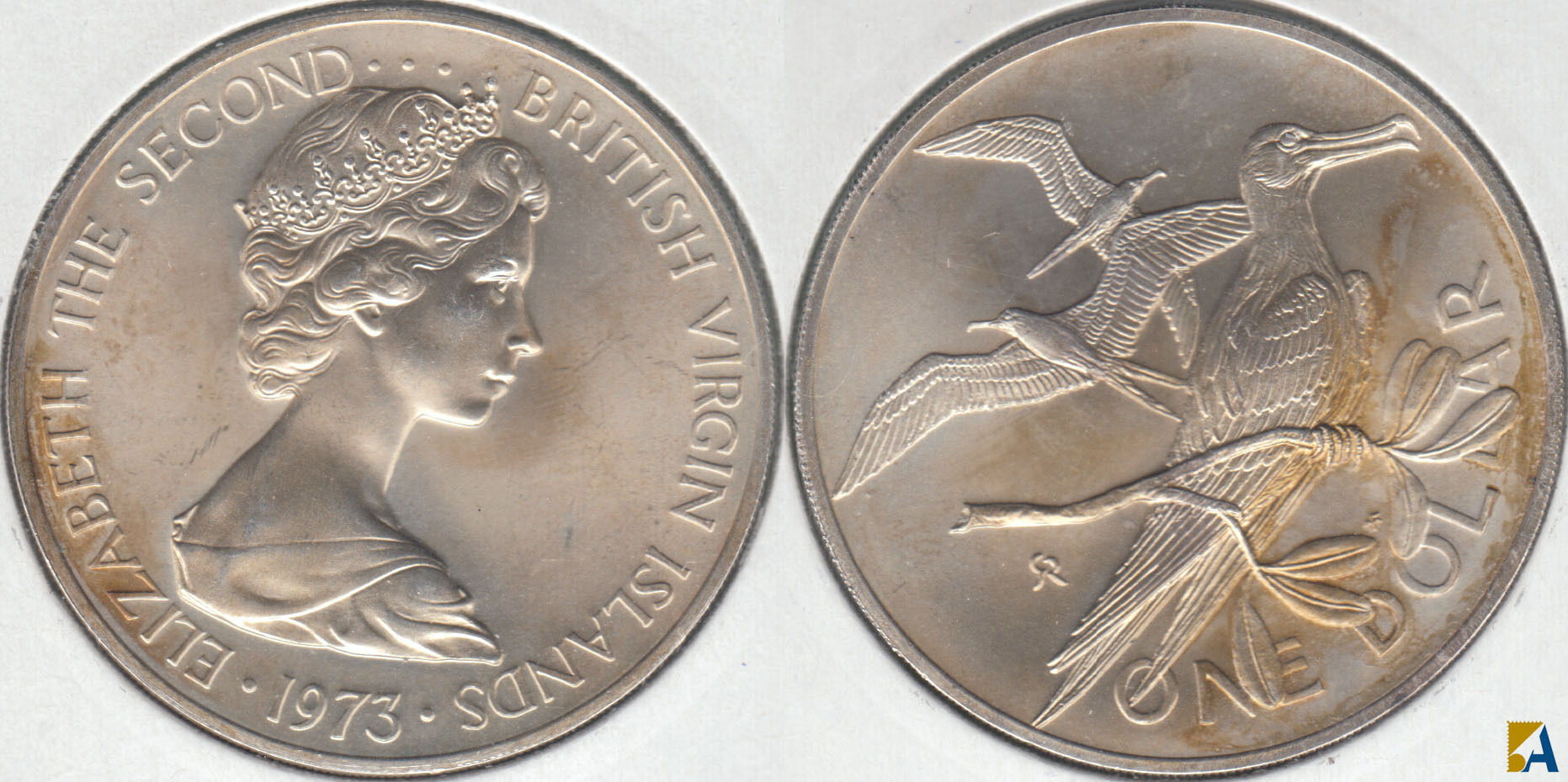 ISLAS VIRGENES - BRITISH VIRGIN ISLANDS. 1 DOLAR (DOLLAR) DE 1973. PLATA 0.9250.