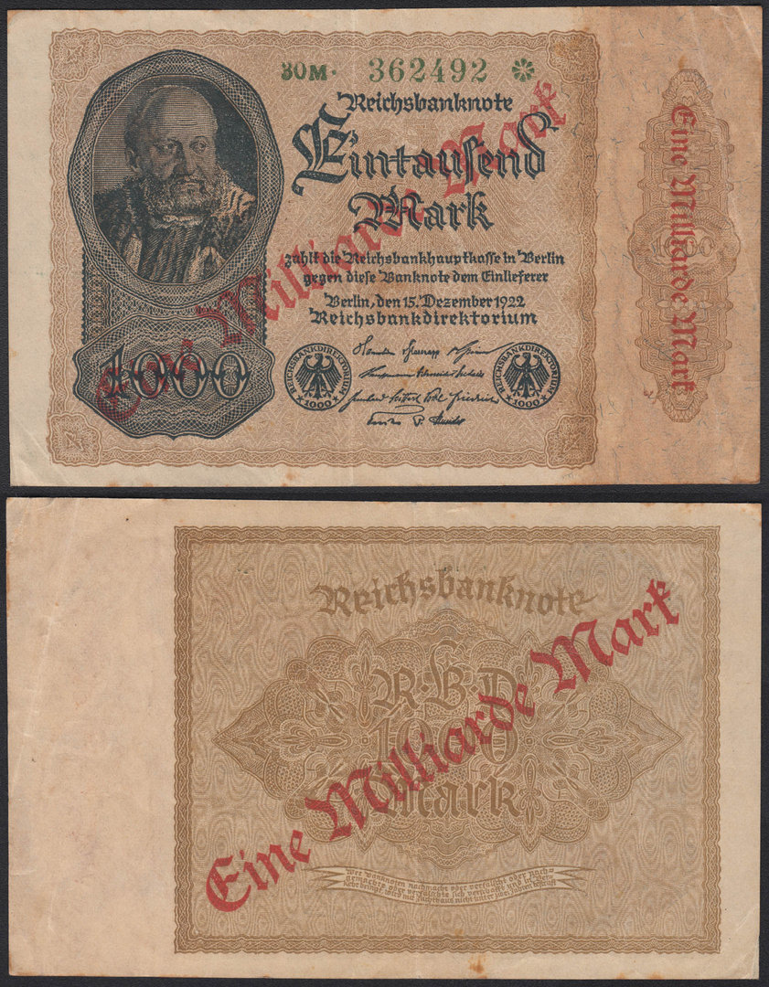ALEMANIA-GERMANY. 1000 MARCOS (MARK) DE 1922. RESELLO DE UN MILLON.