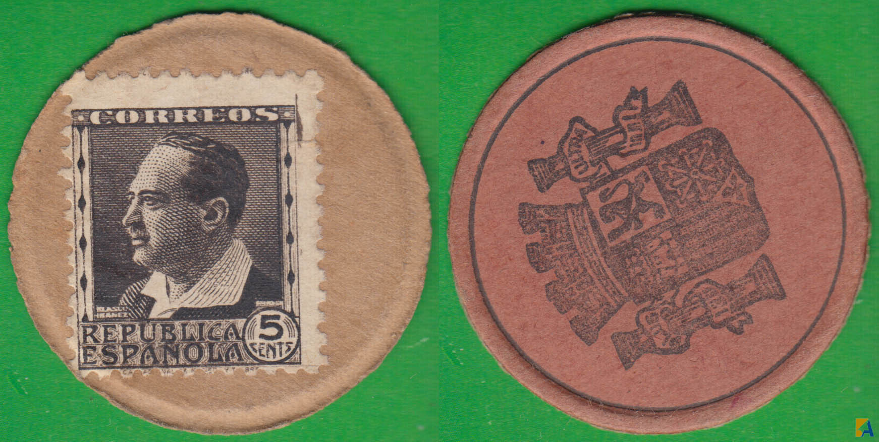 II REPUBLICA. MONEDA DE EMERGENCIA. 5 CENTIMOS DE 1938. BLASCO IBAÑEZ. MARRON OSCURO.