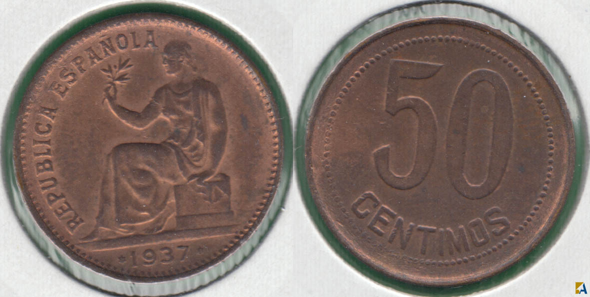 II REPUBLICA. 50 CENTIMOS DE 1937 (*3-*4).