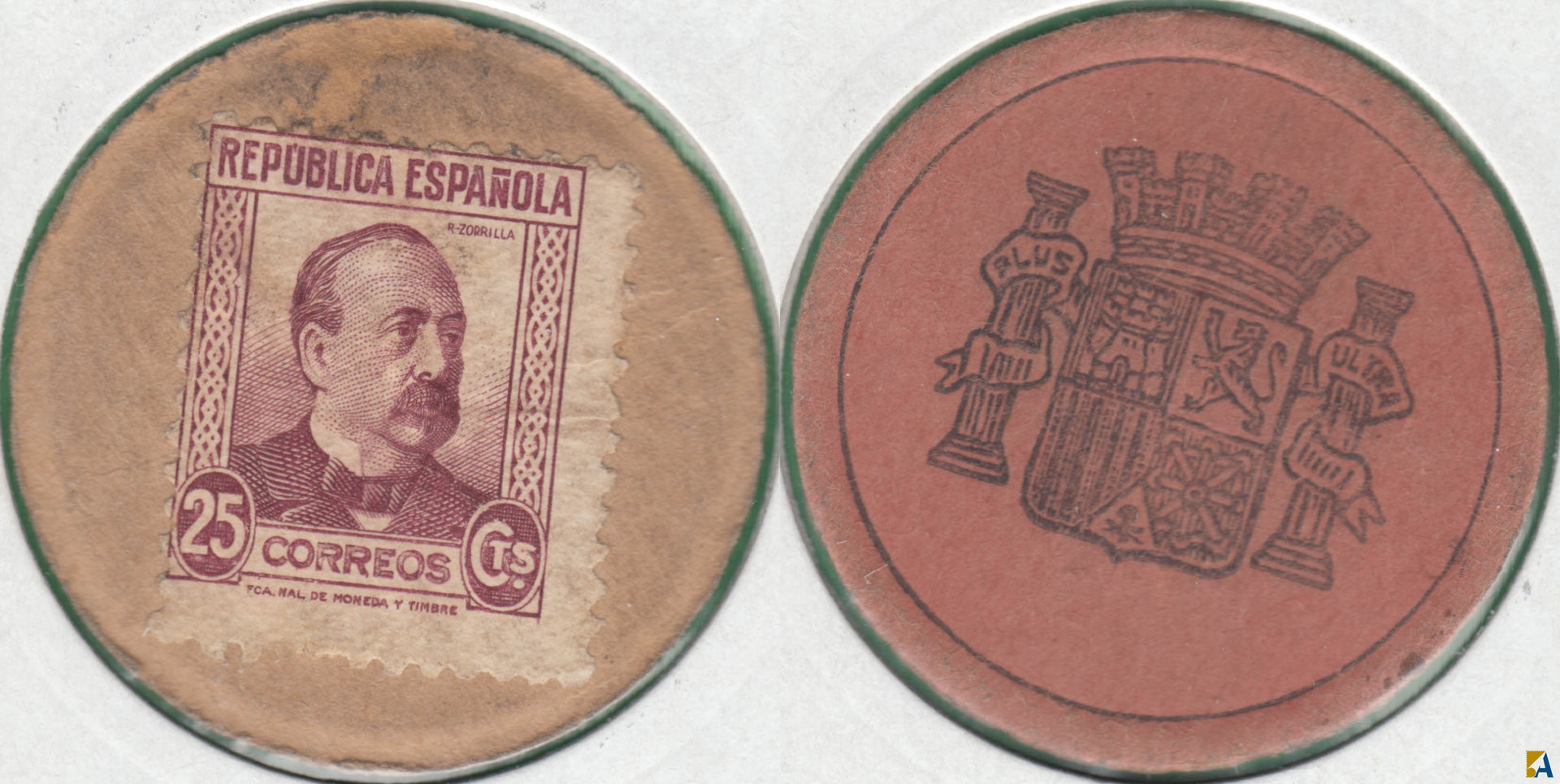 II REPUBLICA. MONEDA DE EMERGENCIA. 25 CENTIMOS DE 1938. R.ZORRILLA.
