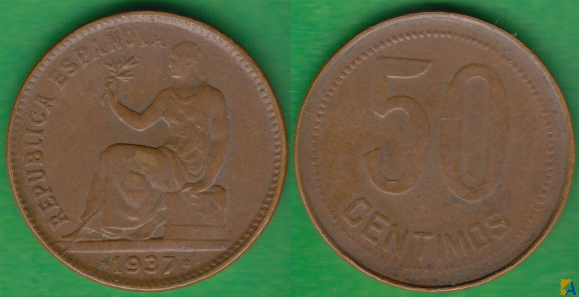 II REPUBLICA. 50 CENTIMOS DE 1937 (*3-*4). (2)