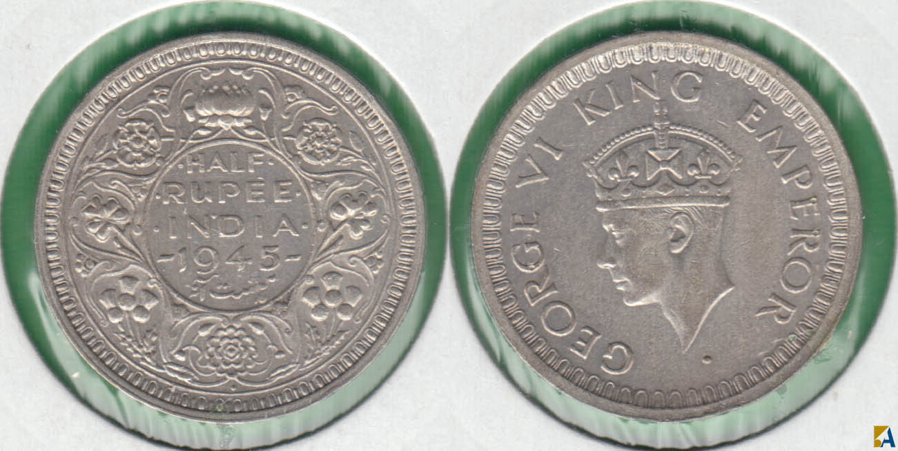 INDIA BRITANICA - BRITISH INDIA. 1/2 RUPIA (RUPEE) DE 1945. PLATA 0.500.