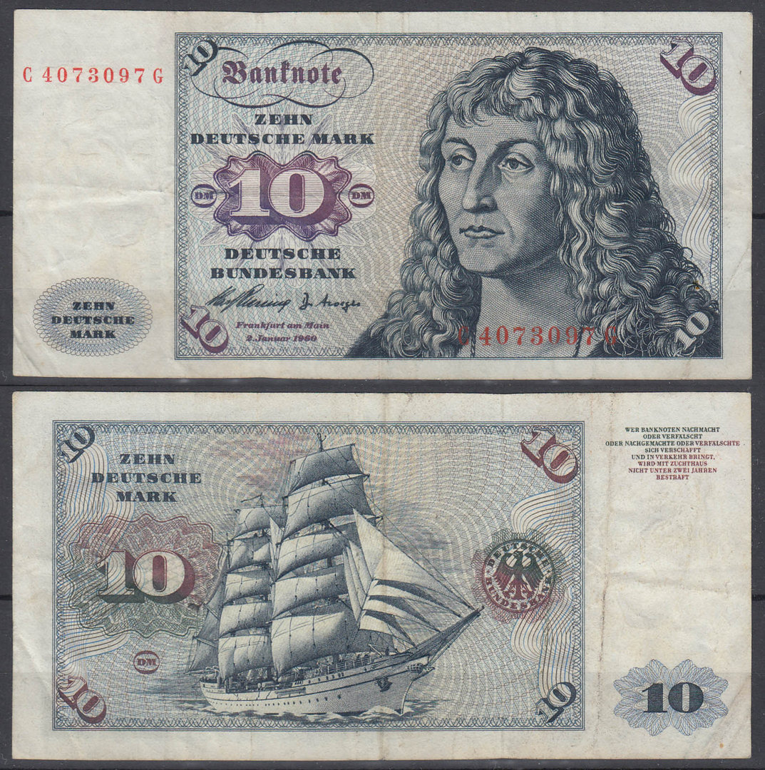 ALEMANIA - GERMANY. 10 MARCOS (MARK) DE 1960. CIRCULADO.