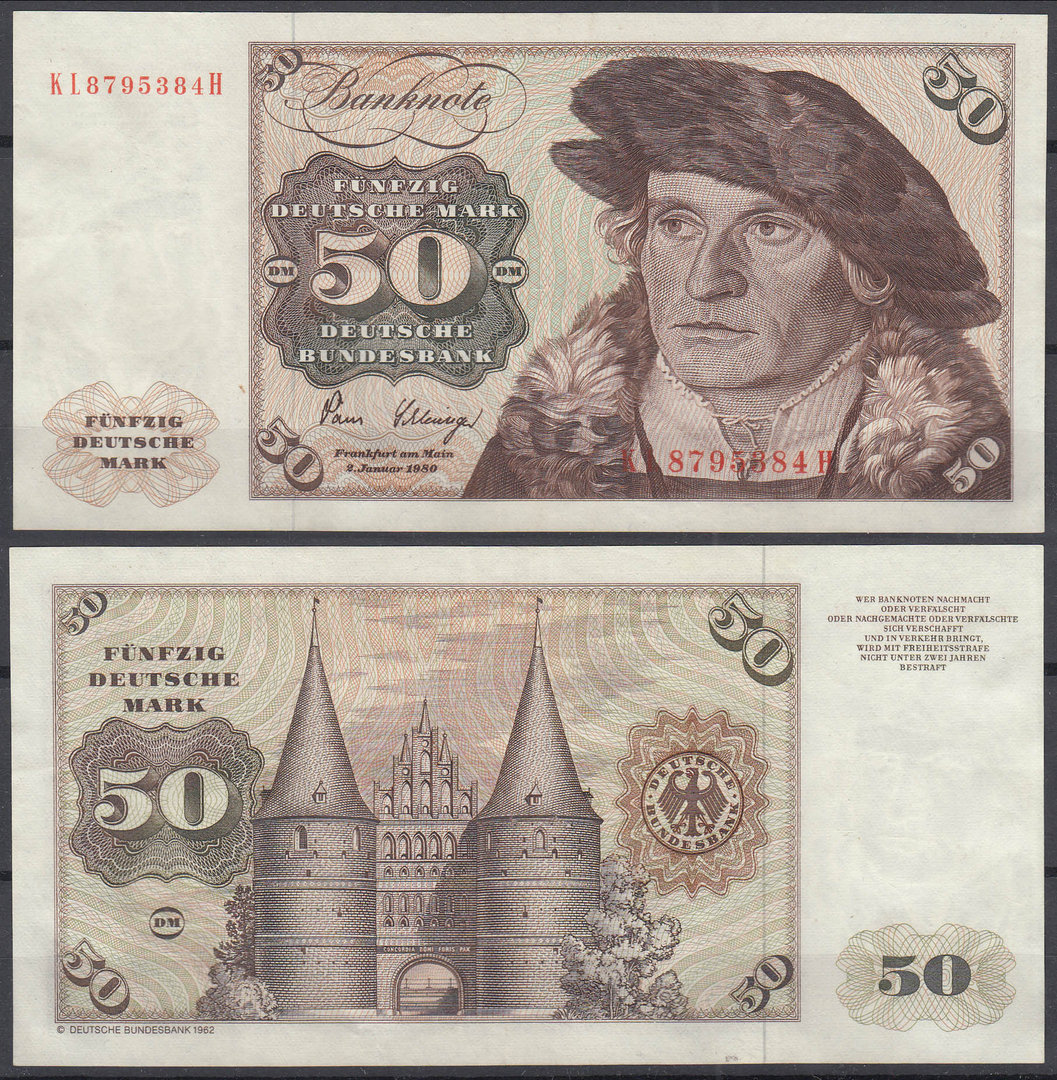 ALEMANIA - GERMANY. 50 MARCOS (MARK) DE 1980. EBC+