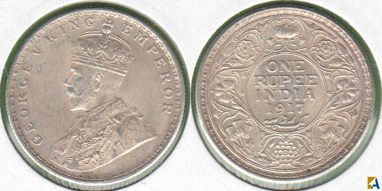 INDIA BRITANICA - BRITISH INDIA. 1 RUPIA (RUPEE) DE 1917. PLATA 0.917.