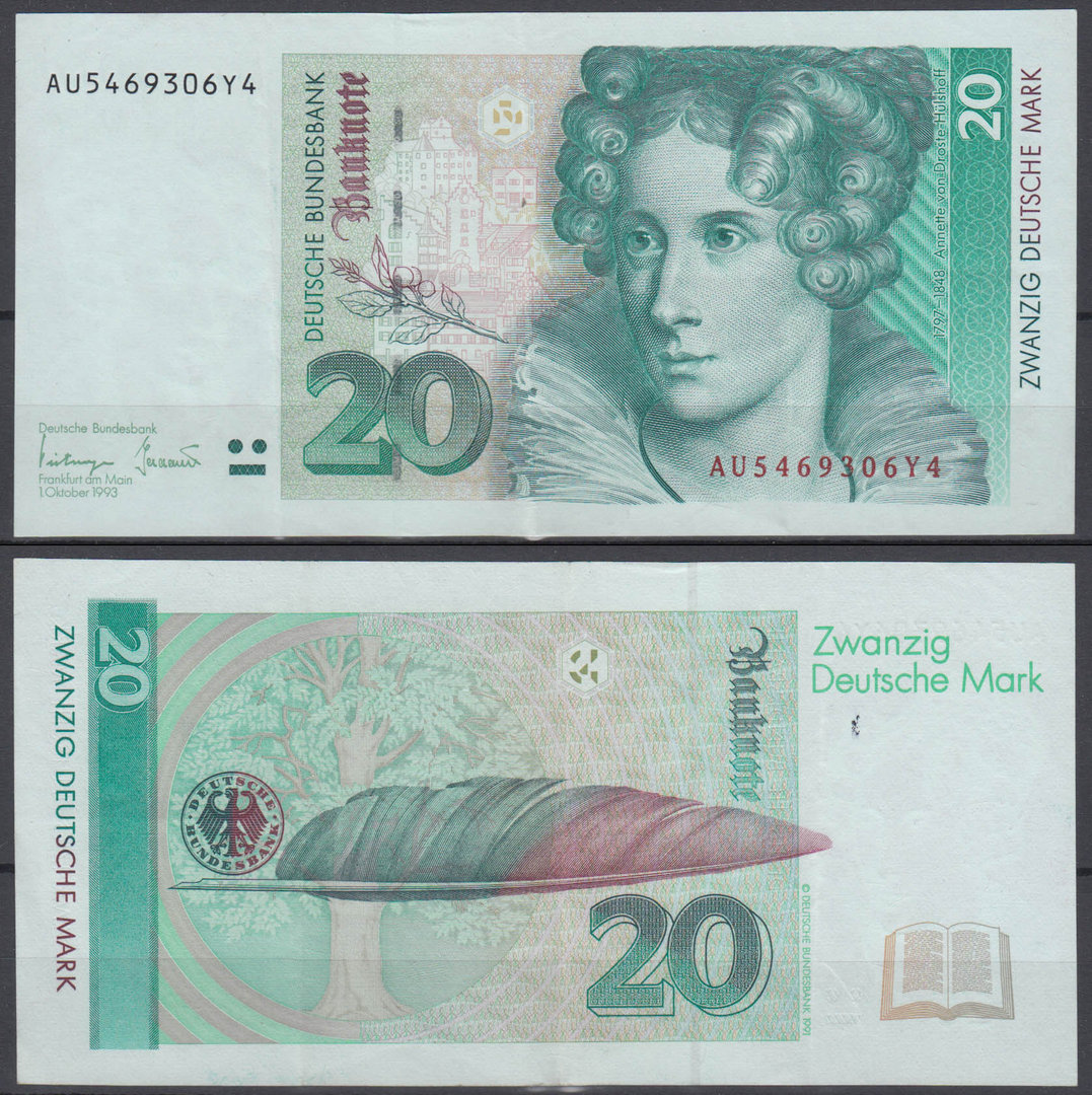 ALEMANIA - GERMANY. 20 MARCOS (MARK) DE 1993. CIRCULADO.